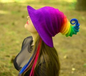 The Rainbow Witch / Wizard Hat by HandiCraftKate