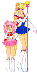Sailor Moon and ChibiMoon by Sailor-Serenity