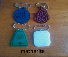 Avatar Laser-Cut Keychains: The Four Elements by matherite