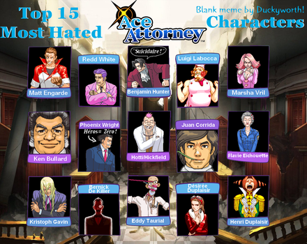 MES PERSONNAGES DETESTES DES ACE ATTORNEY! by Astrogirl500