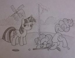 sketch fun - Twilight and Pinkie play mini golf by Kalyandra