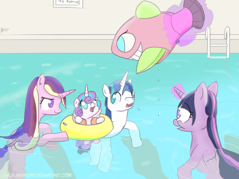 Family Pool Party (ATG7 - Day 13) by HalflingPony