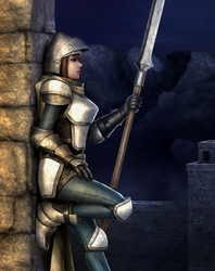 Girl on late night guard duty by jdp89