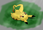 Pikachu playing with his tail (Daily 10) by Aurora-Alley