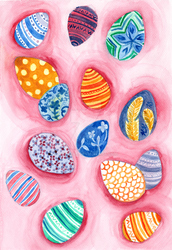 Easter Egg Watercolor Painting by LoVeras