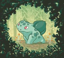 Bulbasaur in the forest by Dendroabates