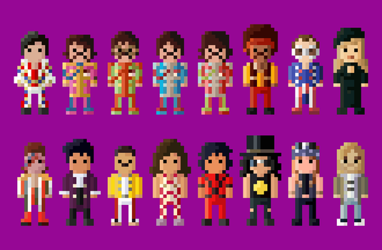 Classic Rock Artists Collection 8 Bit by LustriousCharming