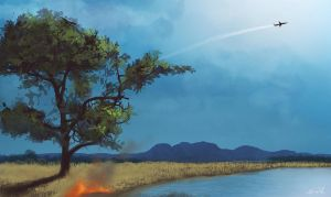 Daily Spitpaint: Forest Fire by nixuboy