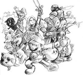 The Original Twelve Smash Brothers by dokugami