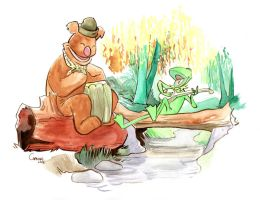 Kermit and Fozzie by caanantheartboy