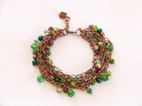 Copper and glass bracelet, forest and berries by OkeMani