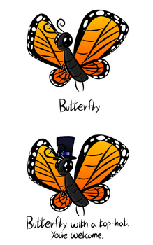 Butterfly with a Top-hat, by by superloveharrypotter