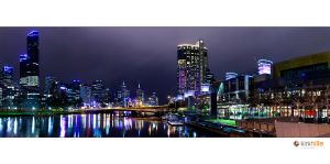Melbourne Skyline Night Time by Furiousxr