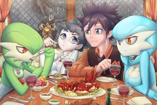 Dining with Gardevoirs by MurPloxy