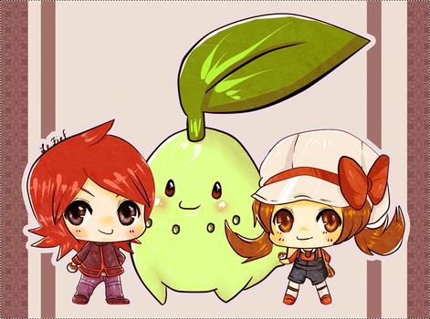 silver chikorita and kotone by deccielefief