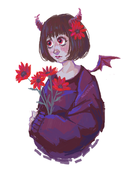 Demon girl with flowers - MS paint by Nasuki100