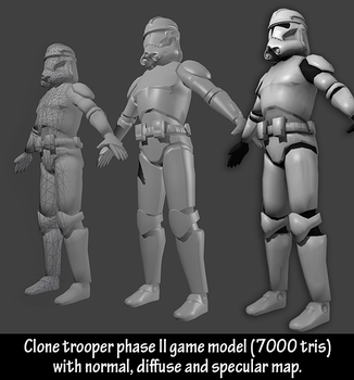 Clone trooper phase II ready for rigging by Kulibrach