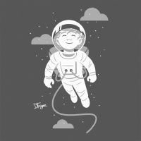 Space is Scary, But I am Brave T-shirt by dryponder