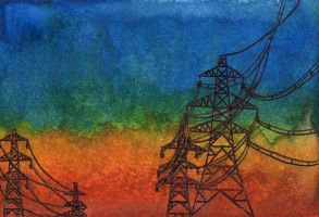 [ACEO #16] Sunset Pylons by agataylor