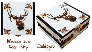 Wooden Box Deer Sky by ChibiPyro