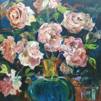 Blue Vase with Pink Roses by PatKoenig
