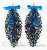 Peacock Magic Polymer Clay Embroidery Earrings by DeidreDreams