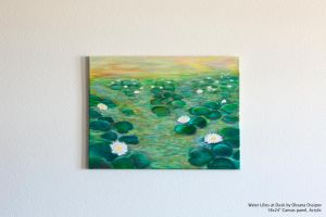 Water Lilies at Dusk, acrylic painting by NoirArt