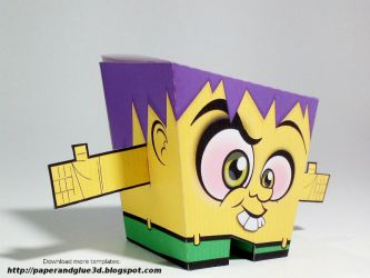 Paper toy cubic yellow template by Berpardo