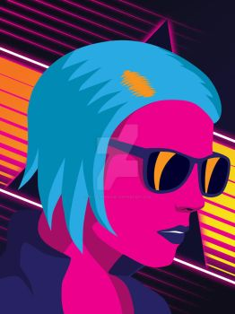 Synthwave Girl by patrickkingart