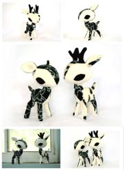 Ivory Gothique Rose Deer Plush by pookat