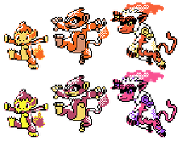 Chimchar Monferno Infernape GSC Sprites by Axel-Comics