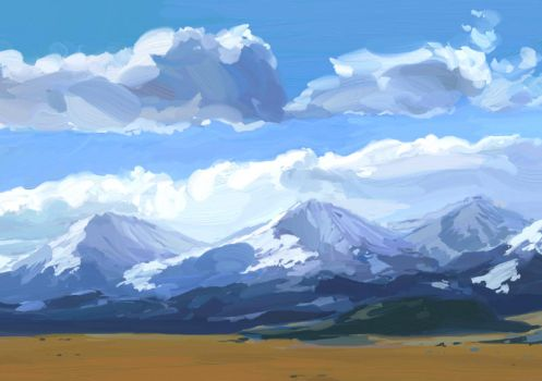 Mountains Study by LhuneArt