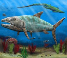 Swimming with Pachyrhizodus by Zimices