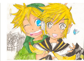 Len Kagamine and toon link by shalaylex