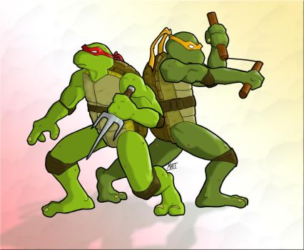 Raph and Mike by fishmongr