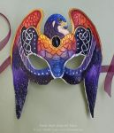 Knotwork Falcon - Sunset Stars - Leather Mask by windfalcon