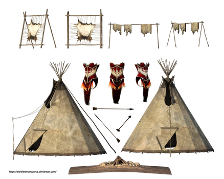 Free Stock PNG:  Teepees, Furs, Fire Pit, Clothing by ArtReferenceSource