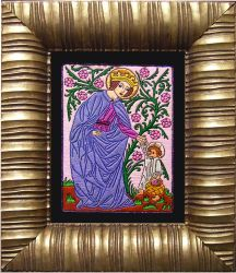 St. Dorothea of Caesaria hand embroidery medieval by YANKA-arts-n-crafts