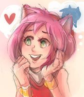 Sonic Fanart - Fangirl Amy by papelmarfil