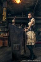 Steampunk leather underbust with gorgerin corset by Esaikha