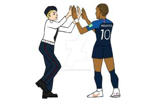 MBappe and Pussy Riot high five - World Cup 2018 by bad-squirrell