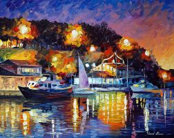 River Wharf by Leonid Afremov by Leonidafremov