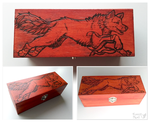 Pyrography art- jumping wolf by FuzzyMaro