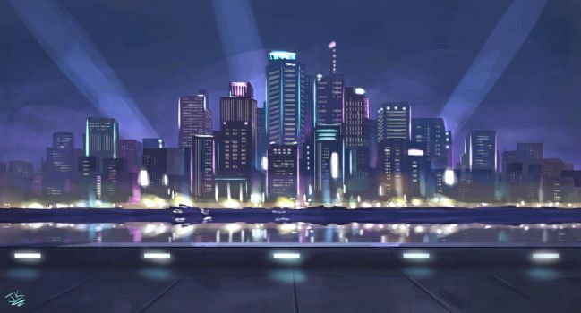 Cybercity Knights - Skyline by BadLuckArt