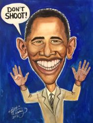 Obama Presidential Caricature  by Diana-Huang