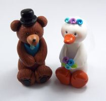 Bear And Goose Wedding Cake Topper by HeartshapedCreations