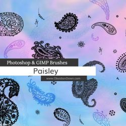 Paisley Photoshop and GIMP Brushes by redheadstock