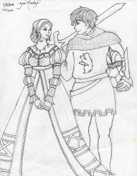 Sir Knight and Maiden by ZamDoodle