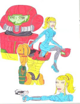 Samus Getting Dressed- colored by ROSchwoe