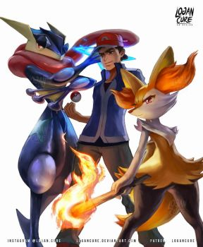 Commission: Kalos starters greninja braixen by logancure